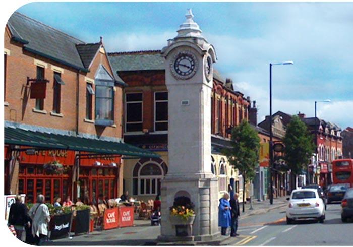 Didsbury town center - clock tower